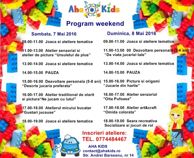 PROGRAM AHA KIDS WEEKEND 7-8 MAI 2016