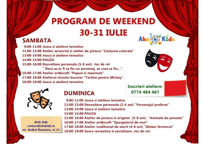 program week-end 30-31 iulie